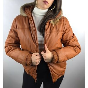 Vintage 1970s WILSONS LEATHER orange puffer jacket